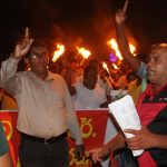 """""""Bring down prices of fuel"""" – People in Devinuwara take to the streets"""