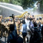 Students treated with tear gas & water cannon instead of solutions